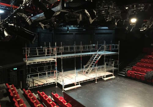 Scaffold for the shScaffold for the show RENT at the Minerva, Chichester Festival Theatre, December 2017.ow RENT at the Minerva, Chichester Festival Theatre, December 2017.