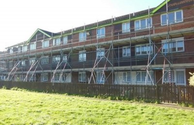 Scaffolding for a block of flats.